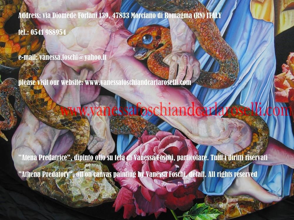 """ATENA - DEA DELLA PREDAZIONE """"Atena Predatrice"""" è colei, fra gli dei olimpici, che controlla la predazione. La divinità è raffigurata da Vanessa Foschi mentre stritola a morte con i suoi serpenti Alcioneo, uno dei cosiddetti """"Giganti"""", progenie di Gaia (la Terra). La dea indossa l'Egida, culla di primordiali rettili piumati, con la testa della Gorgone. Porta lo scudo intarsiato con animate scene di predazione dal mondo umano ed animale alla maniera dei famosi scudi di Eracle, Achille ed Enea. Tecnica olio su tela. Dipinto da Vanessa Foschi. Scritto di Vanessa Foschi. Tutti i diritti riservati."""