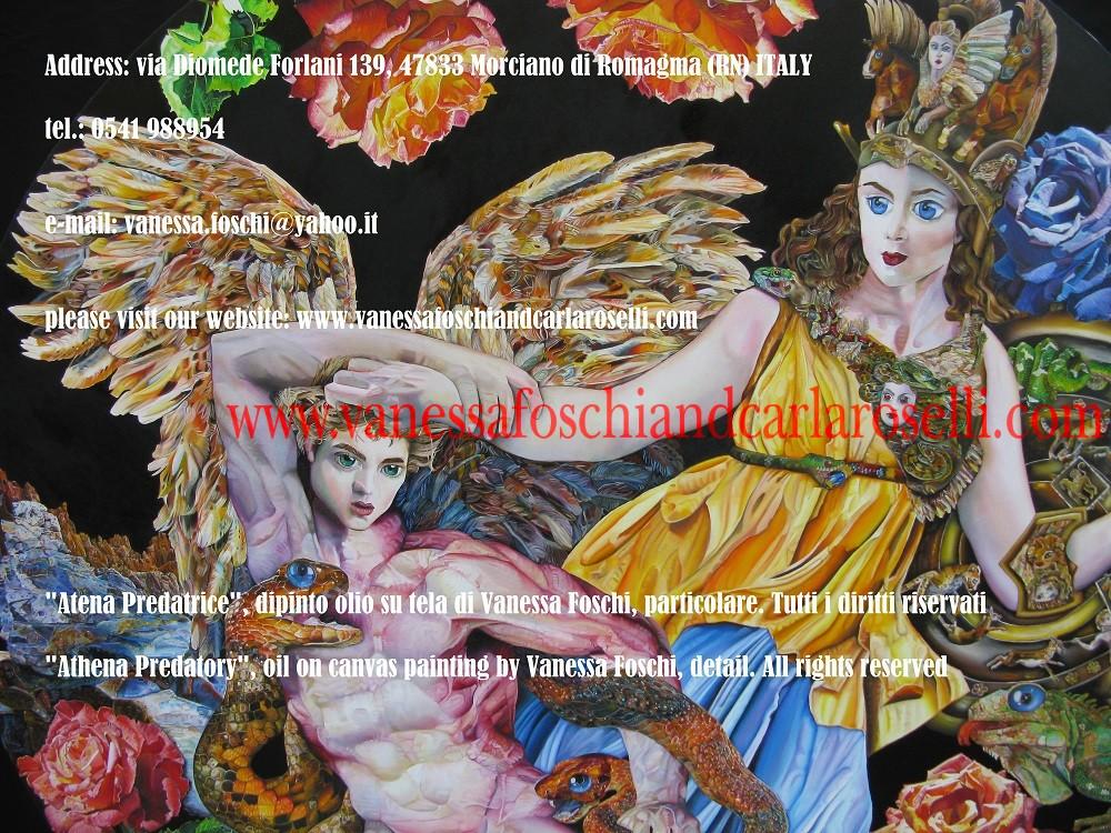 Atena Predatrice (Alcioneo), dipinto olio su tela di Vanessa Foschi, particolare. Athena Predatory, oil on canvas painting by Vanessa Foschi, detail