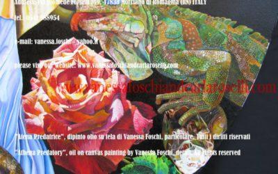 rosa e iguana nel dipinto Atena Predatrice (Alcioneo), olio su tela di Vanessa Foschi,- Athena Predatory (Alcyoneus) , oil on canvas painting by Vanessa Foschi, detail, rose