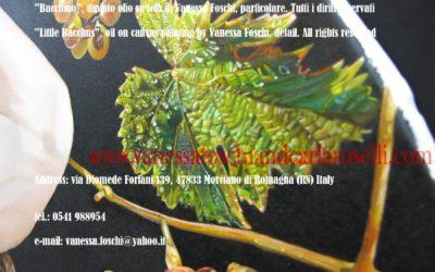 Bacchino, dipinto olio su tela di Vanessa Foschi- Little Bacchus, oil on canvas painting by Vanessa Foschi, detail