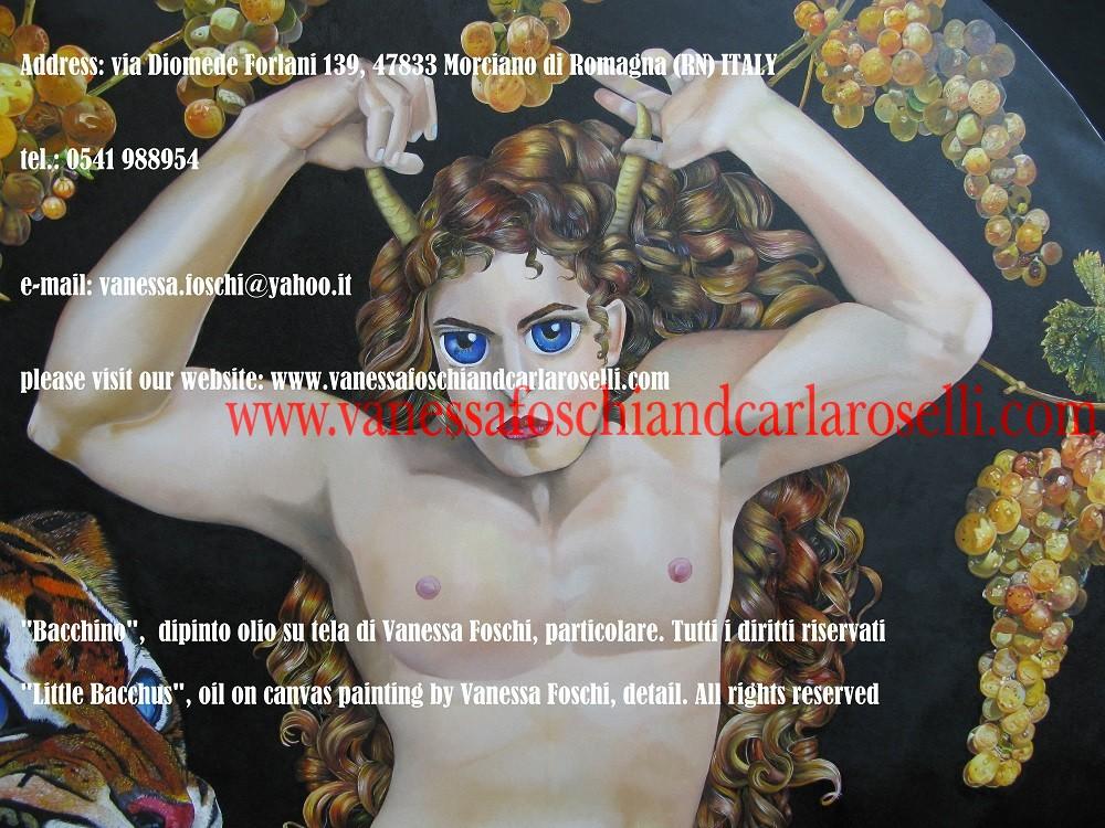 Bacchino, dipinto olio su tela di Vanessa Foschi, - Little Bacchus, oil on canvas painting by Vanessa Foschi