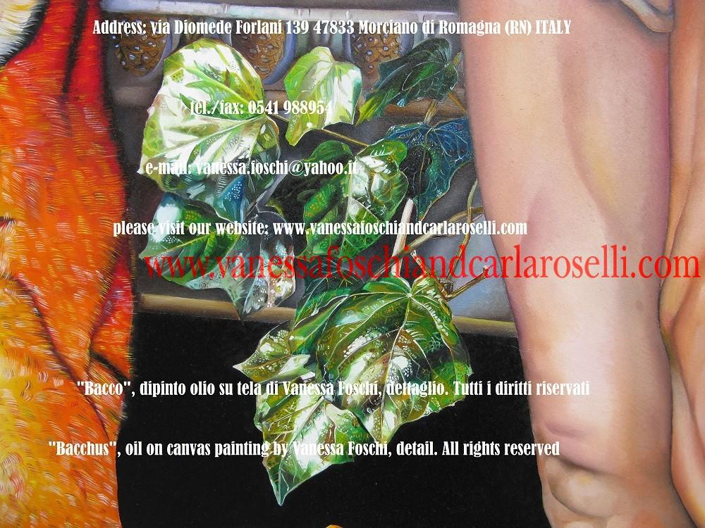 """BACCO, SIGNORE DELLA VITE Vanessa Foschi qui raffigura il più giocondo degli dei olimpici, salutato da Plauto nel """"Gorgoglione"""" come """"leggiadro signore del vino"""" (vinipollens lepidus Liber). Grappoli d'uva e corimbi di vite lo coronano."""