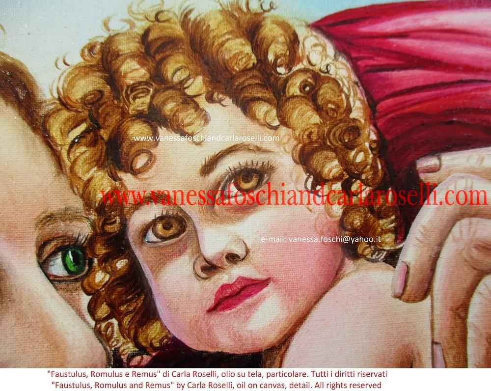 ROMOLO E REMO Carla Roselli raffigura in questo dipinto il mandriano che trovò, per volere divino, i gemelli Romolo e Remo. Accanto siede la lupa fulva, animale sacro al loro padre, che li salvò dalle acque. Sullo sfondo sono rappresentati il passo della Gola del Furlo ed il fiume Metauro. L'artista intende prefigurare i futuri successi dei Romani, il popolo di Romolo. Infatti gli acquitrini a valle del passo furono teatro di una strepitosa vittoria contro i Cartaginesi. Nella cruciale battaglia del Metauro (207 a.c.) il doppio esercito romano sbaragliò Asdrubale Barca e i suoi uomini. Consoli furono Caio Claudio Nerone e Marco Livio Salinatore. Tecnica olio su tela. Dipinto da Carla Roselli. Scritto di Vanessa Foschi. Tutti i diritti riservati