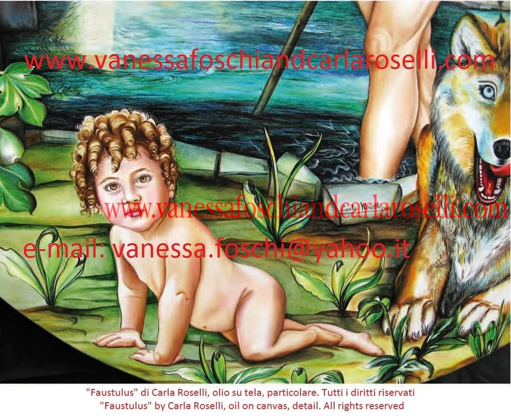 ROMOLO E REMO Carla Roselli raffigura in questo dipinto il mandriano che trovò, per volere divino, i gemelli Romolo e Remo. Accanto siede la lupa fulva, animale sacro al loro padre, che li salvò dalle acque. Sullo sfondo sono rappresentati il passo della Gola del Furlo ed il fiume Metauro. L'artista intende prefigurare i futuri successi dei Romani, il popolo di Romolo. Infatti gli acquitrini a valle del passo furono teatro di una strepitosa vittoria contro i Cartaginesi. Nella cruciale battaglia del Metauro (207 a.c.) il doppio esercito romano sbaragliò Asdrubale Barca e i suoi uomini. Consoli furono Caio Claudio Nerone e Marco Livio Salinatore. Tecnica olio su tela. Dipinto da Carla Roselli. Scritto di Vanessa Foschi. Tutti i diritti riservati. Per maggiori informazioni contattateci al seguente indirizzo e-mail: vanessa.foschi@yahoo.it