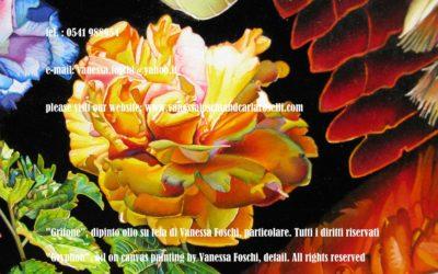 Grifone, dipinto olio su tela di Vanessa Foschi, particolare, rosa-Gryphon, oil on canvas painting by Vanessa Foschi, detail, rose