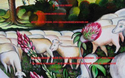 IL BELLISSIMO GANIMEDE Una assoluta bellezza può trarre giù dal cielo lo stesso re degli dei, qui raffigurato da Carla Roselli come aquila. La bellezza agisce come specchio del divino ed è in grado di eternare il suo possessore. Ciò è esemplificato nel mito di Ganimede, ghermito dall'avvinto nume. Il bellissimo pastore, principe di Ilio, ascese fra gli immortali in un impetuoso volo. Secondo Omero, (Iliade V, 265) Zeus,
