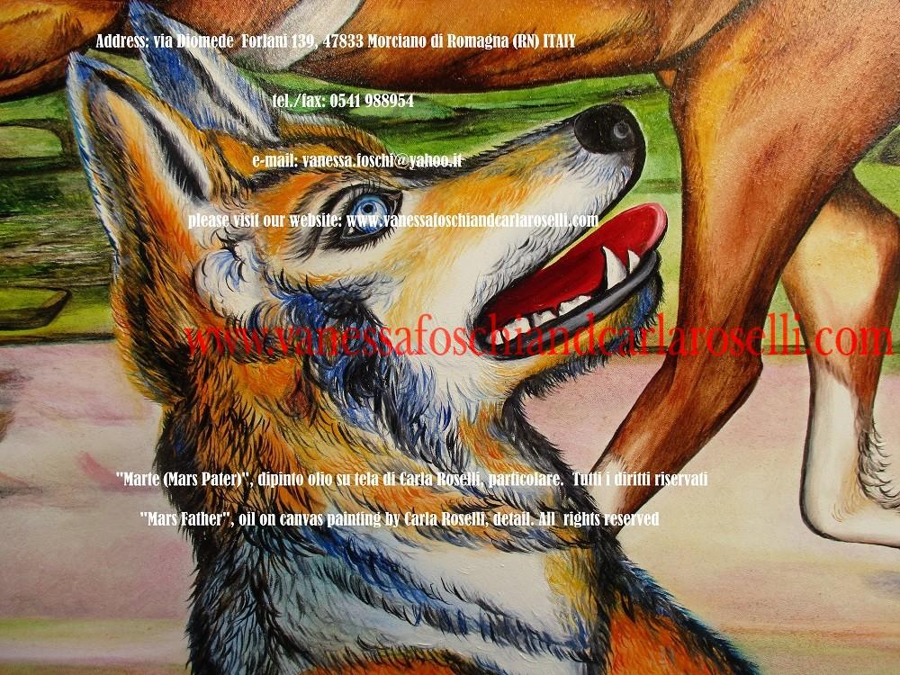 """MARTE - DIO DELLA GUERRA Nel dipinto """"Mars Pater"""" di Carla Roselli è raffigurato Marte, uno degli dei latini, il """"padre"""" del popolo romano attraverso Romolo. Egli è alla guida di una biga d'oro sul parapetto della quale è cesellata una scrofa bianca con alcuni dei suoi trenta maialini. Ella è la stessa che fu profetizzata dal Tevere, uno degli dei fluviali italici ad Enea come fine della sua ricerca. Accanto ad essa sono rappresentati un picchio, ed un fico, animale totemico e pianta sacri a Marte, fra i popoli latini. Come detto da Plutarco nella """"Vita di Romolo"""", il picchio fu visto portare bocconi di cibo agli abbandonati Romolo e Remo ed aiutare a sfamarli insieme alla lupa. Sul terreno sono raffigurate delle oche, in memoria del loro salvifico starnazzare durante la calata dei Galli e la lupa che allattò i gemelli Romolo e Remo. Il dio impugna una lancia. Come attestato da Varrone (Clemente di Alessandria, Protrepticon ) i Romani veneravano una lancia conservata nella """"Reggia"""" come immagine del dio della guerra. Tecnica olio su tela. Dipinto da Carla Roselli. Scritto di Vanessa Foschi. Tutti i diritti riservati"""