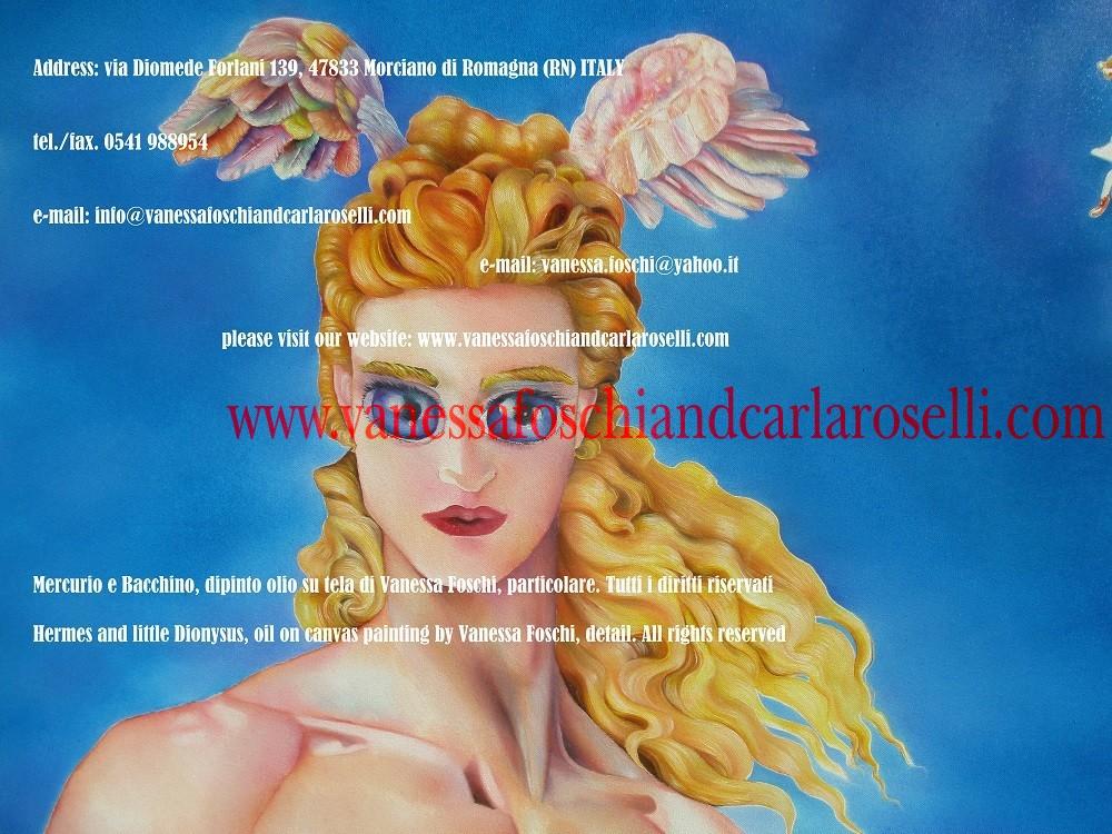 Mercurio/Hermes and little Dionysus, oil on canvas painting by Vanessa Foschi-Ερμής- Mercurio e Bacchino di Vanessa Foschi