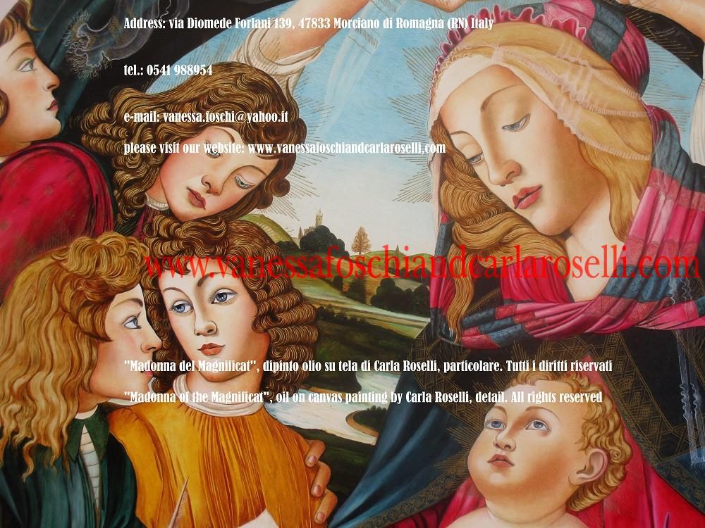 Madonna del Magnificat, dipinto olio su tela di Carla Roselli-Madonna of the Magnificat, oil on canvas by Carla Roselli 1