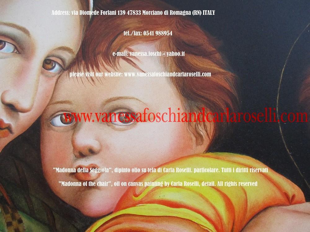 Madonna della Seggiola, dipinto olio su tela di Carla Roselli, particolare - Madonna of the Chair, oil on canvas by Carla Roselli, detail
