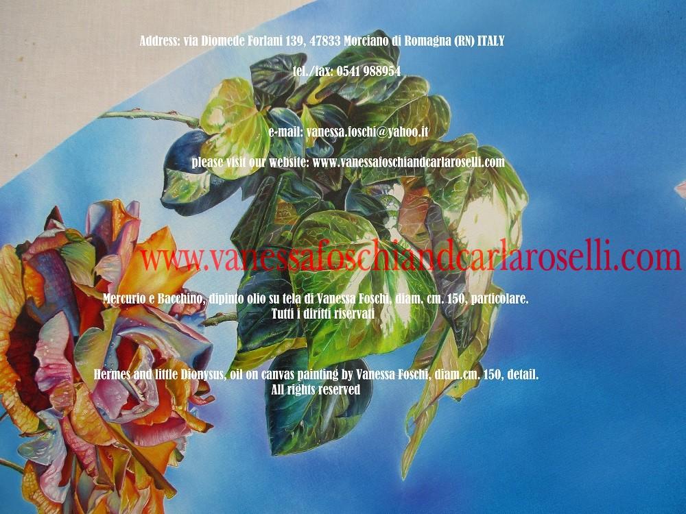 Edera nel dipinto olio su tela Mercurio e Bacchino di Vanessa Foschi . Mercurio/Hermes è il dio più onorato nel pantheon celtico. Hermes guida gli esseri umani durante i viaggi e sulle strade (Gaius Iulius Caesar, De bello gallico, liber VI, 17) .