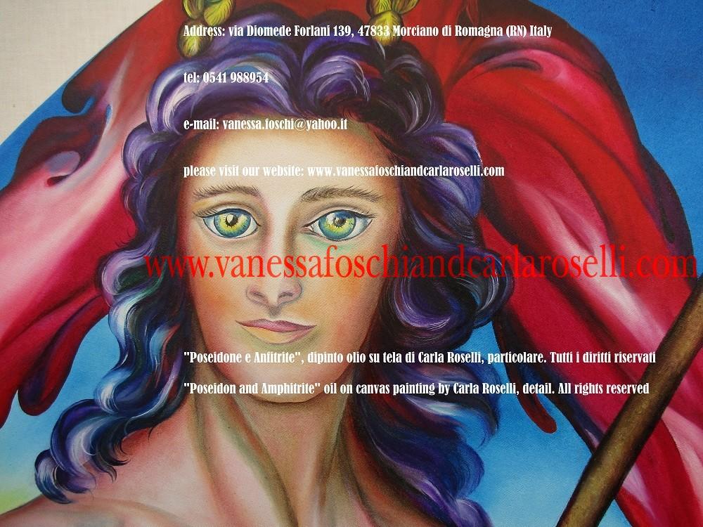 In questo dipinto di Carla Roselli è dipinto Poseidone, fratello di Zeus, signore del mare e di tutte le acque. Fra gli dei ha il potere di proteggere dai terremoti, così come di causarli, guidando il suo carro sottoterra. Per questa ragione è chiamato lo Scuotitore della terra, e il Peloponneso, regione greca famosa per la sua attività sismica, era considerata la sua residenza favorita.