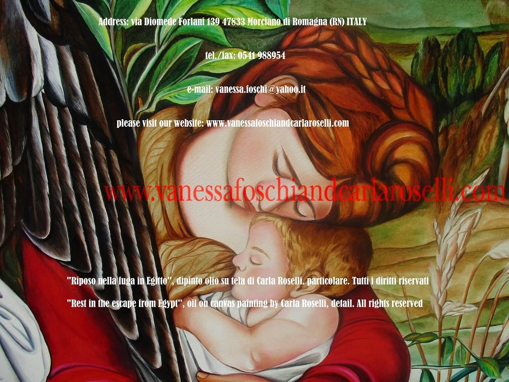 Riposo nella fuga in Egitto, dipinto olio su tela di Carla Roselli - Rest in the escape from Egypt by Carla Roselli