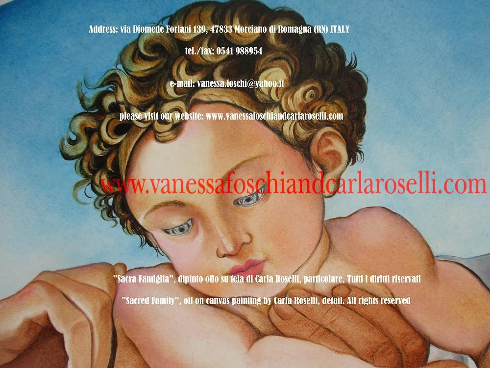 Sacra Famiglia, dipinto olio su tela di Carla Roselli, particolare - Sacred Family, oil on canvas painting by Carla Roselli, detail.jpg