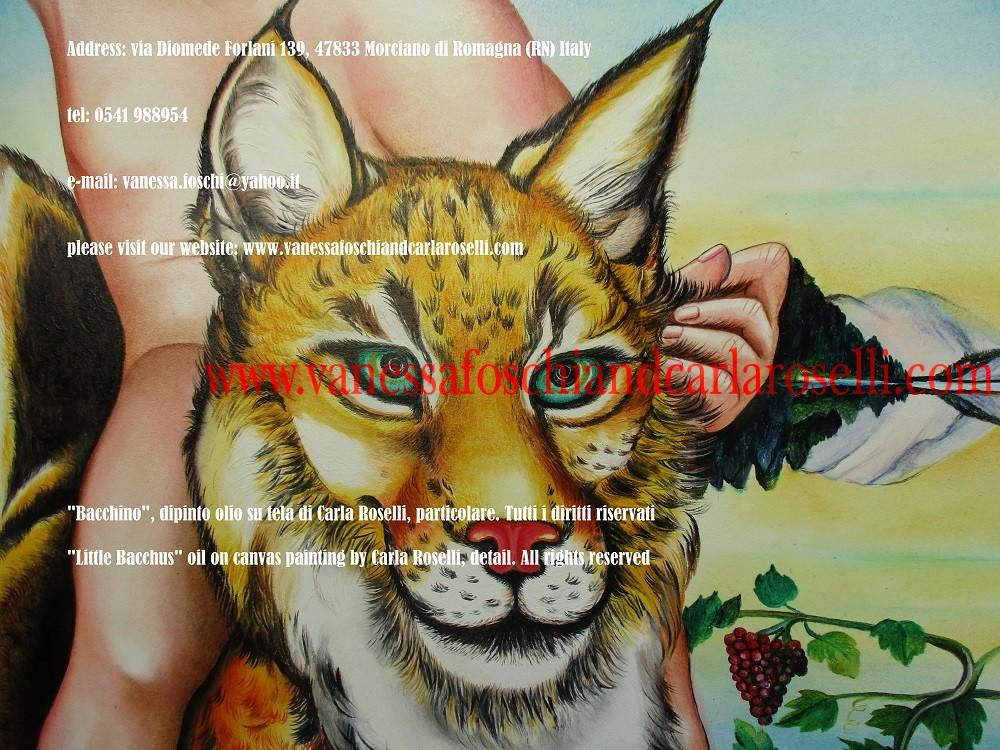Bacchino, dipinto olio su tela di Carla Roselli, lince - Διόνυσος - Little Bacchus, oil on canvas painting by Carla Roselli, lynx