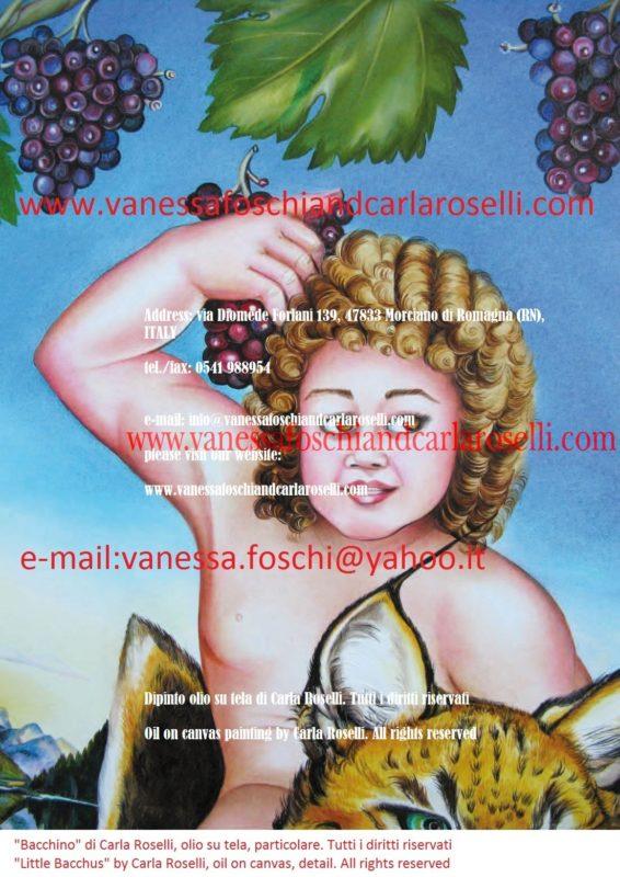Bacchino, olio su tela di Carla Roselli-Little Bacchus, oil on canvas by Carla Roselli