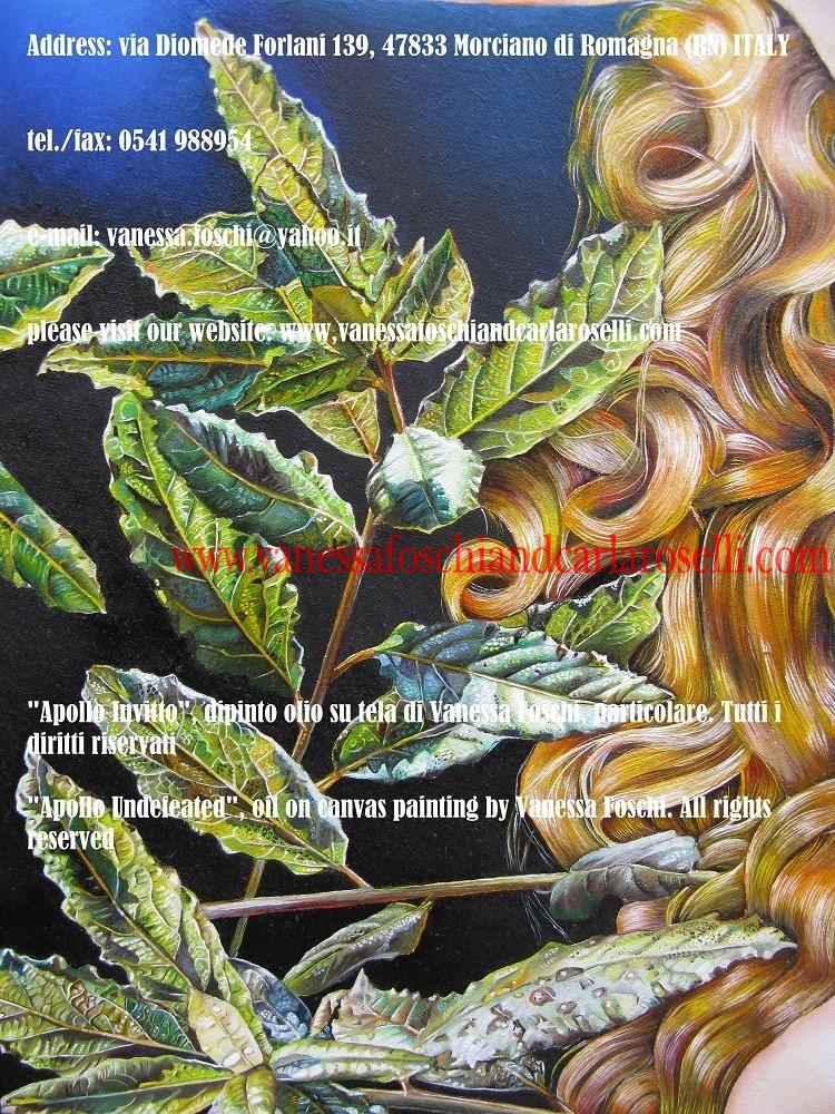 Apollo Invitto, dio della profezia, dipinto olio su di Vanessa Foschi. Sacro alloro -Apollo Undefeated, oil on canvas painting by Vanessa Foschi