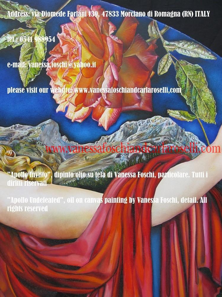 """Profezia. Sullo sfondo del dipinto """"Apollo invitto"""" di Vanessa Foschi si possono osservate le brillntti vette gemelle del monte Parnaso, il seggio profetico. Era stato chiamato, nei famosi gliconei di Euripide (Fenicie vv. 226, 227 ) """"roccia splendente che proietta una duplice vampa di fuoco"""". Come affermato da Eschilo nel prologo delle Eumenidi (vv. 21-27), sotto la sua sommità si trova il cavo antro Coricio sacro alle Ninfe, nei cui recessi gli dei amano dimorare, e dove gli abitanti di Delfi in tempi bui solevano nascondere di tesori dell'oracolo, come attestato da Erodoto."""