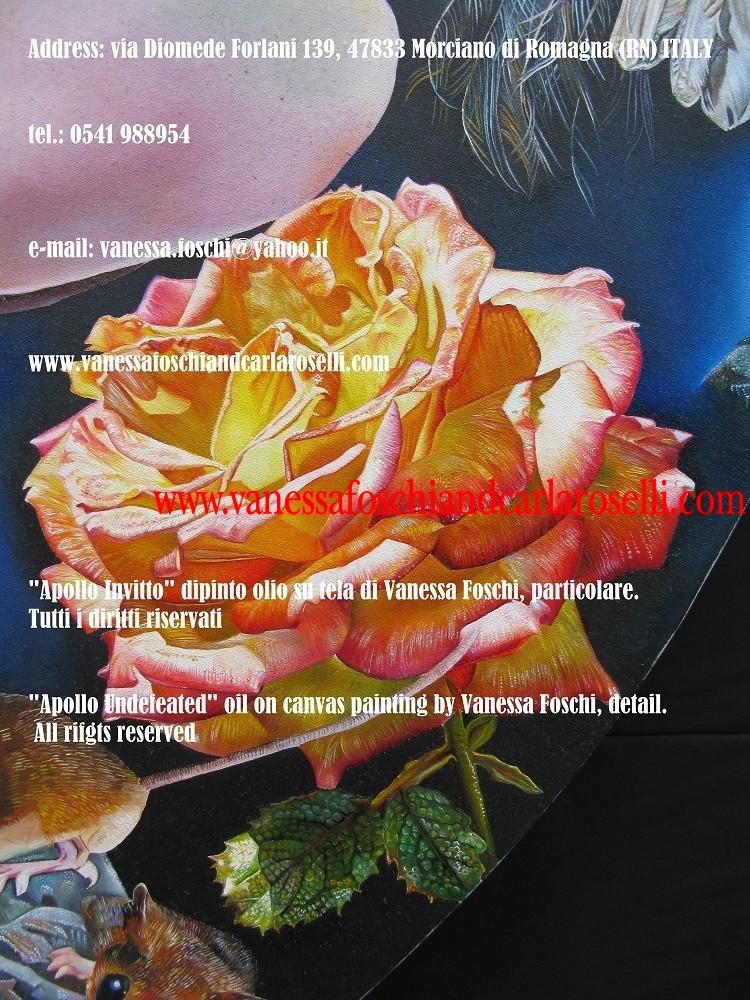 Profezia, Apollo Invitto, dio della profezia, dipinto olio su tela di Vanessa Foschi, rosa