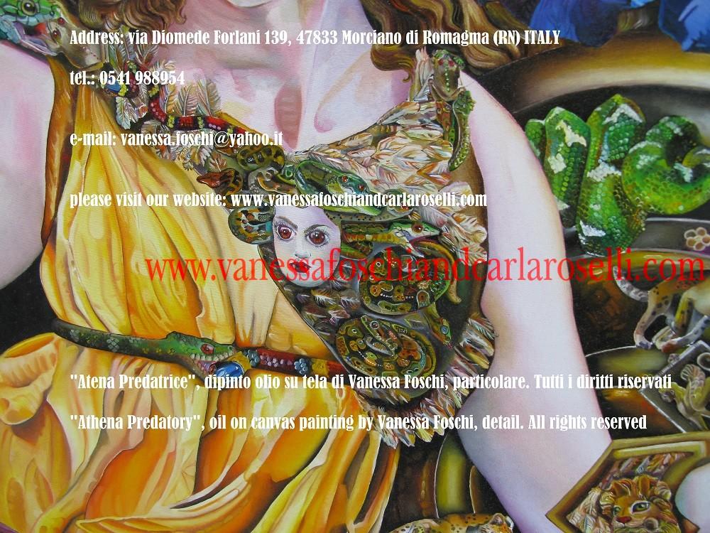 Atena. Nel dipinto olio su tela di Vanessa Foschi la dea indossa l'Egida, culla di primordiali rettili piumati, con la testa della Gorgone. L'Egida, che neppure il fulmine di Zeus sopraffà (Omero, Iliade, XXI, vv.400-401).