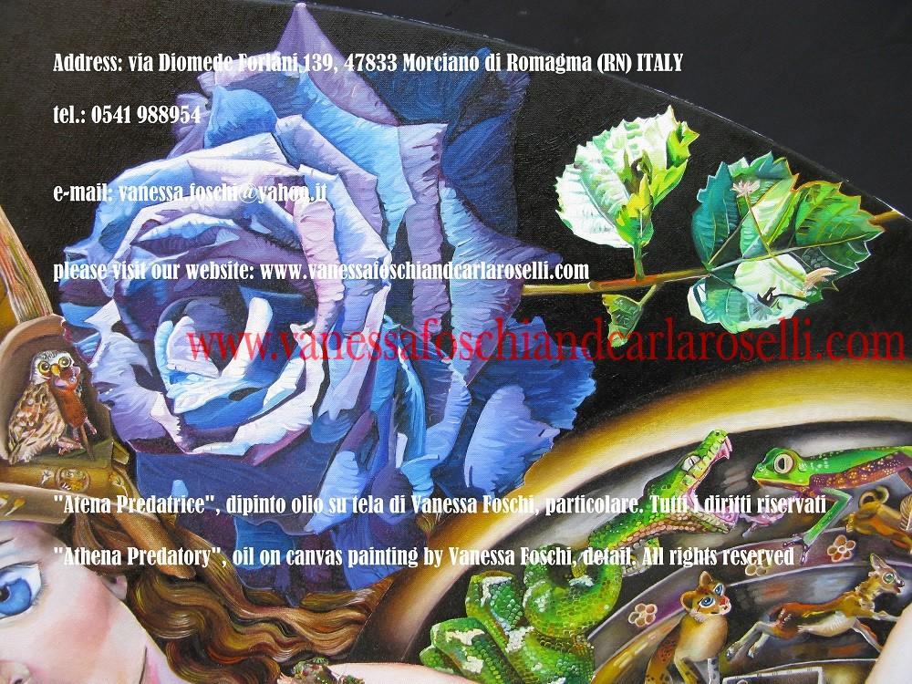 Atena. Secondo Omero la dea fomenta nelle donne la capacità di creare squisiti lavori. Rosa blu nel dipinto olio su tela di Vanessa Foschi