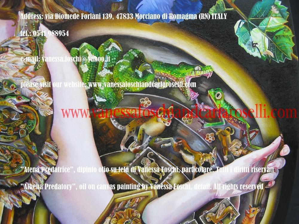 Atena. Nel dipinto di Vanessa Foschi la dea porta lo scudo intarsiato con animate scene di predazione dal mondo umano ed animale alla maniera dei famosi scudi di Eracle, Achille ed Enea.