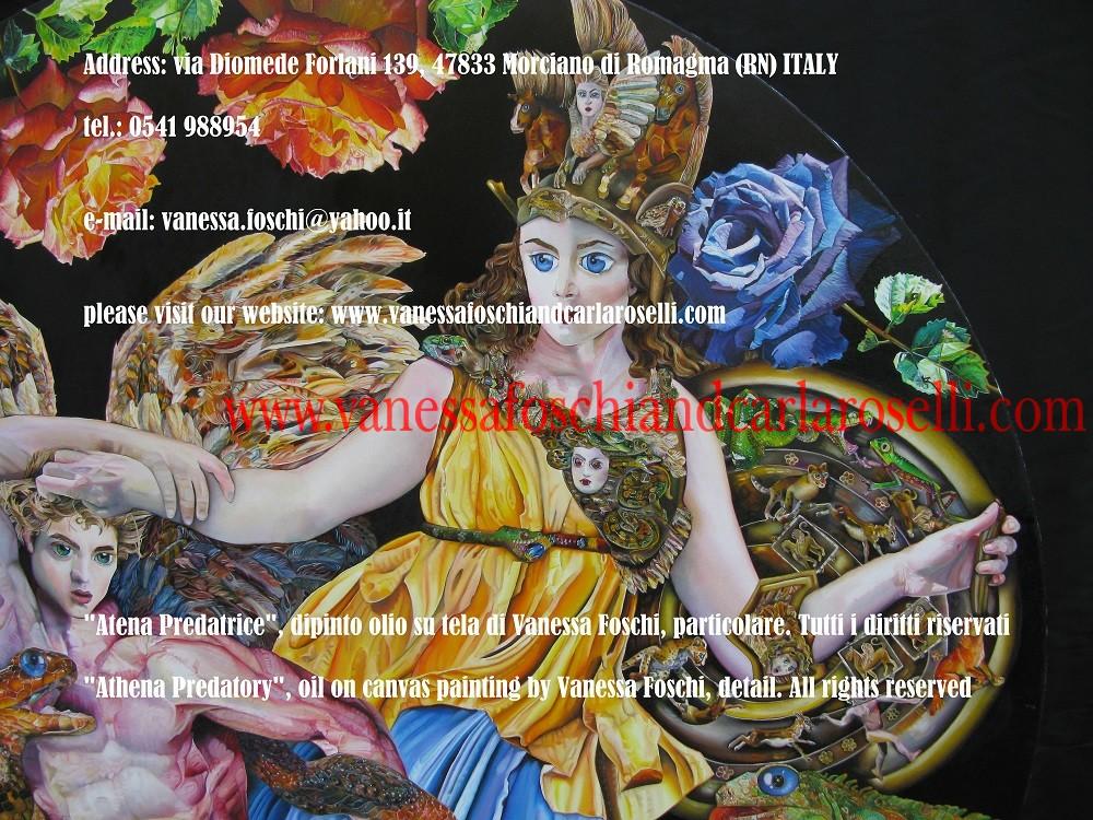 """""""Atena Predatrice"""" è colei, fra gli dei olimpici, che controlla la predazione. La divinità è raffigurata da Vanessa Foschi mentre stritola a morte con i suoi serpenti Alcioneo, uno dei cosiddetti """"Giganti"""", progenie di Gaia (la Terra)."""
