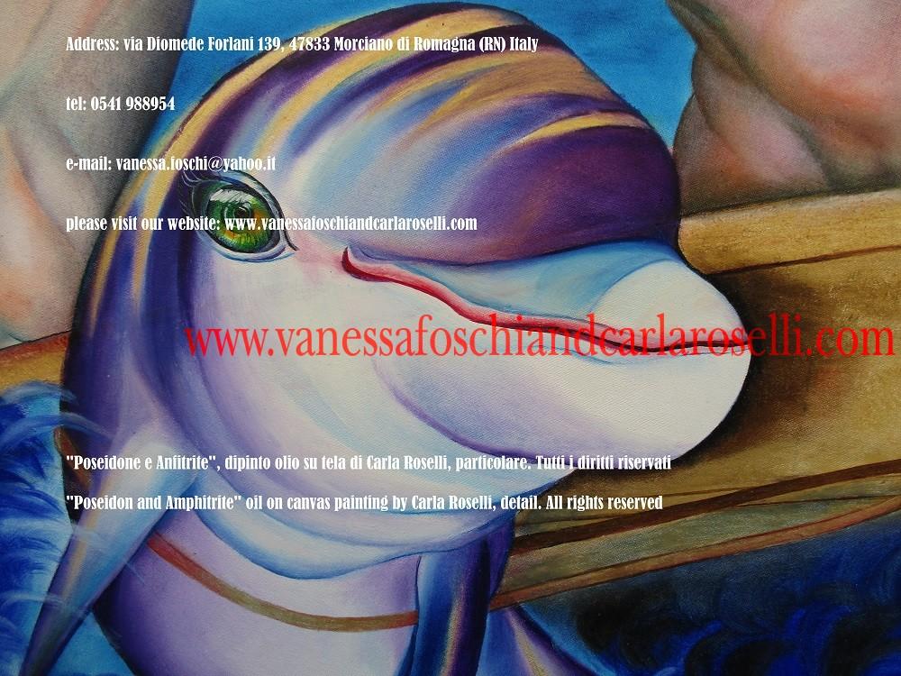 Poseidone e Anfitrite, dipinto olio su tela di Carla Roselli, delfino- Poseidon and Amphitrite, oil on canvas painting by Carla Roselli, dolphin