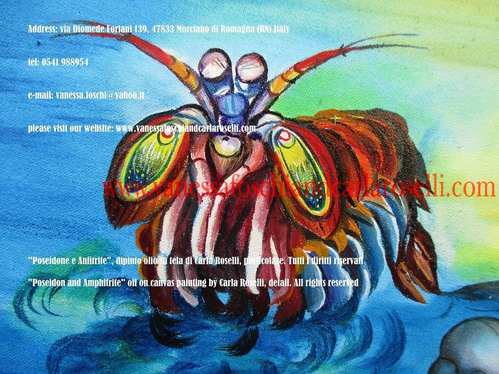 Nettuno Ποσειδών Poseidone, gambero mantite nel dipinto Nettuno e Anfitrite di Carla Roselli