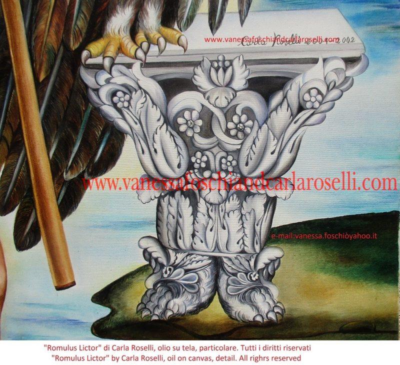 Carla Roselli raffigura il lupo come tributo alla leggenda sulla fondazione di Roma. Essa sosteneva che i due gemelli orfani che costruirono la città furono trovati nelle esondazioni limacciose del fiume Tevere; galleggiavano in un canestro di vimini; una lupa fulva, che poi procedette ad allattarli, fu la scopritrice. Nel dipinto l'aquila, essendo il capo degli uccelli, come cantato da Pindaro (Pindaro, Pitica I, v.11) , rappresenta la regalità derivante da Iuppiter/Zeus (Omero, Iliade, I vv.238,239 e v. 279). Romolo impugna una lancia, che, secondo Giustino (XIV, 3.3), ai suoi tempi aveva la stessa funzione della corona reale. Il capitello corinzio prefigura i fasti del futuro impero.