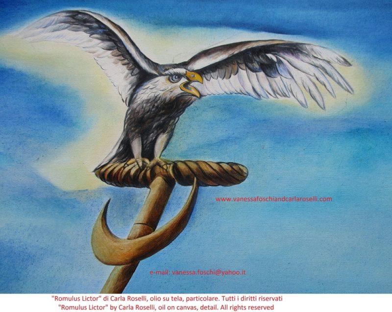 Romulus Lictor, olio su tela di Carla Roselli, insegna con aquila argentata- Romulus Lictor, oil on canvas by Carla Roselli