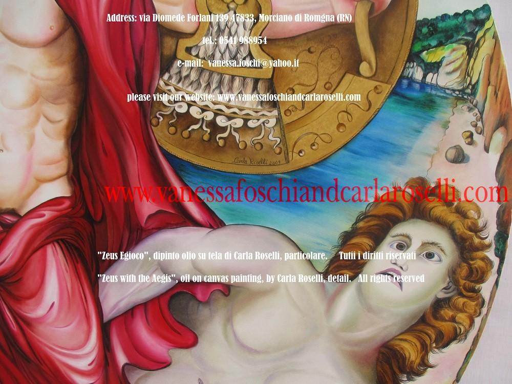 """EGIDA La pittrice Carla Roselli è stata ispirata dall'Egida, lo scudo che incute terrore; con essa il dio sparge tuoni, lampi e turbinose tempeste; è tutta ornata di fiocchi e frange (Omero, Iliade); alcuni dicono che fosse stata creata con la pelle di Amaltea, la capretta nutrice di Zeus, nume """"dalla gran voce rombante"""". Basta scuoterla leggermente perché infonda il panico anche nell'animo di stagionati guerrieri. Spesso Atena, la figlia preferita di Zeus, la prende in prestito (Omero, Iliade). Secondo Ares, il sanguinario dio eversore di mura, rovina dei mortali, la predilezione nasceva dal fatto che il padre degli dei e degli uomini avesse generato Pallade Atena da solo, senza intervento femminile (Omero, Iliade, V). Tecnica olio su tela . Dipinto da Carla Roselli. Scritto di Vanessa Foschi, 2017/2018. Tutti i diritti riservati"""