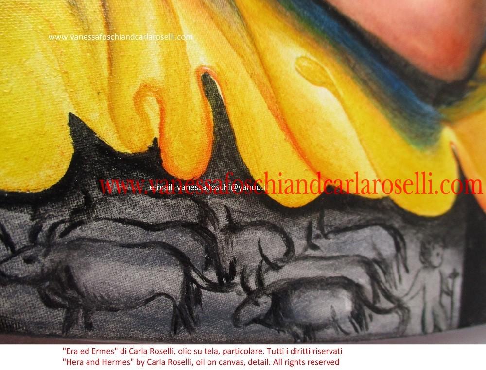 Sul fregio è raffigurata un'impresa di Mercurio bambino: il furto delle mucche, tirate all'indietro per la coda, per confonderne le tracce.