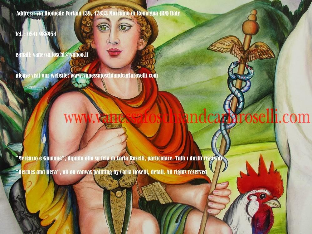 """Sulla sinistra c'è Mercurio/Ermes, con la sua spada d'oro ed un gallo, uccello a lui sacro. Egli è l'uccisore di Argo """"Tuttocchi"""", il guardiano della mucca. Costui aveva il capo cinto di cento occhi, che prendevano il riposo a turno, due a due, mentre gli altri rimanevano di guardia. (Ovidio, Metamorfosi, I, vv.625-628). Ad esso Mercurio si avvicinò, deposte le ali e la copertura dell'invisibilità, munito di magica verga e spada. Col canto al suono della zampogna riuscì ad addormentare tutti gli occhi. Dopo averne intensificato il sopore carezzandoli con la bacchetta, sfoderò la spada d'oro e lo uccise . (Ovidio Metamorfosi, I, vv.674-724). La zampogna era stata da poco inventata da suo figlio Pan: il satiro utilizzò le canne in cui si era mutata, per sfuggirgli, l'amadriade Siringa, ninfa arborea della gelida Arcadia."""