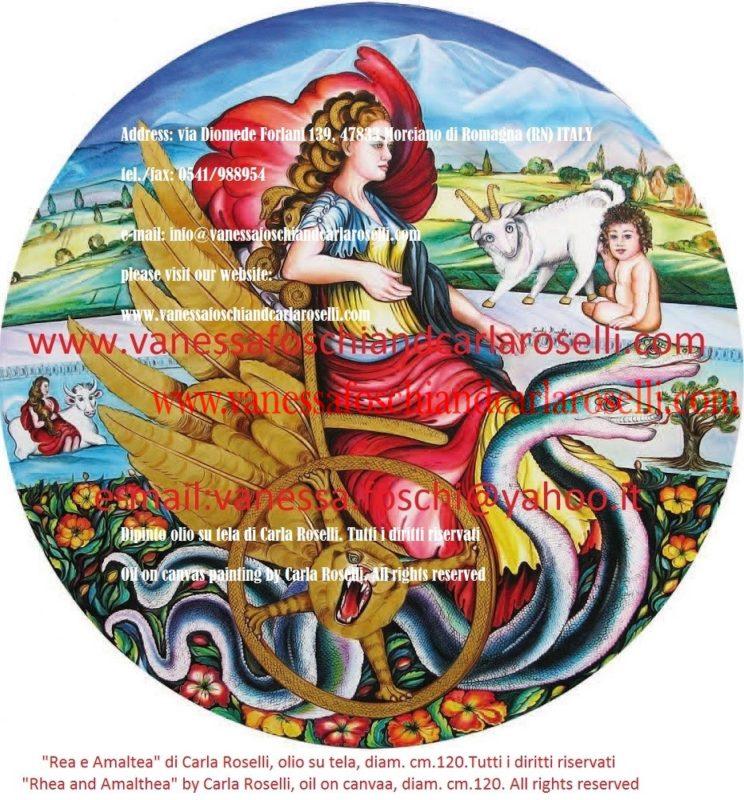 Rea e Amaltea, dipinto olio su tela di di Carla Roselli - Ρέα και Αμαλθεία - Rhea and Amalthea by Carla Roselli