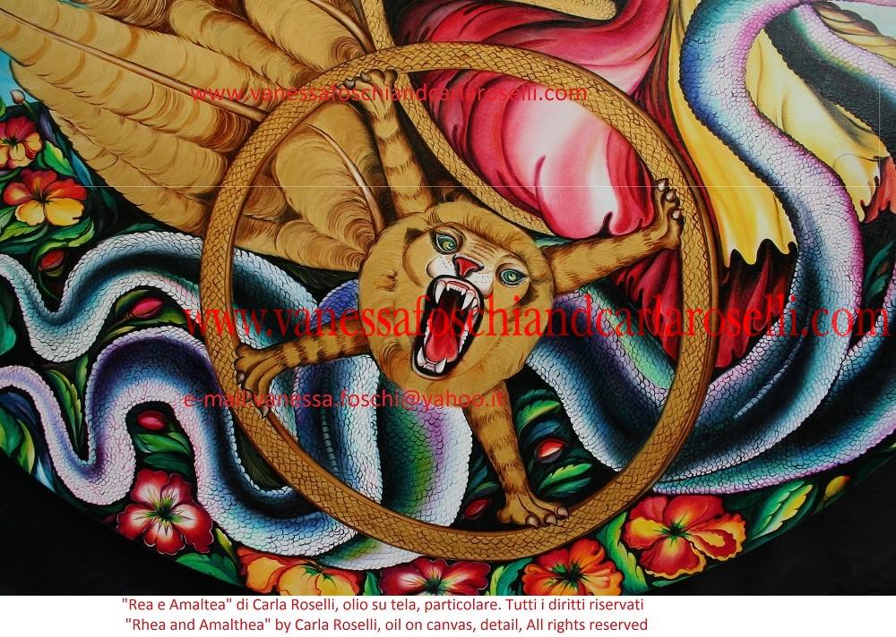 REA E AMALTEA Carla Roselli raffigura in questa tela Rea/Cibele, gran madre degli dei, che ama dimorare sulle montagne. Accanto alla dea c'è il piccolo Zeus, da lei nascosto sull'isola di Creta. Egli siede con la sua nutrice, la capra Amaltea. Rea è alla guida di un carro alato trainato da serpenti, successivo appannaggio della figlia Demetra. Sul fregio è intarsiata un' impresa di Zeus adulto, la traversata dalla Fenicia a Creta in forma di toro. La principessa Europa si aggrappa sulla sua groppa. Tecnica olio su tela. Dipinto da Carla Roselli. Scritto di Vanessa Foschi. Tutti i diritti riservati