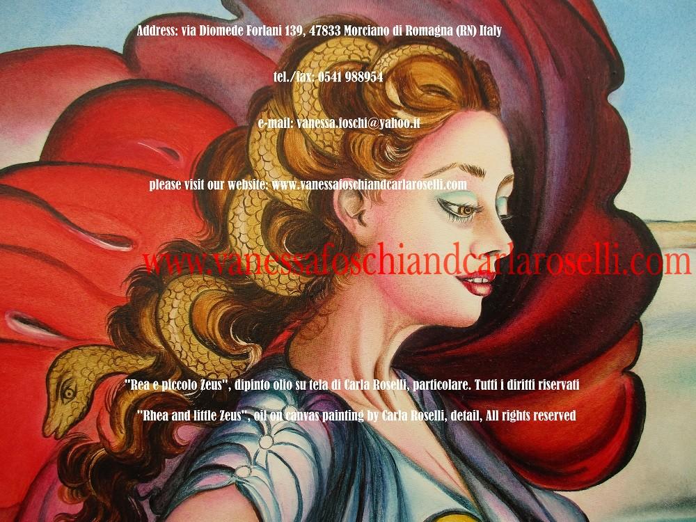 In questo dipinto di Carla Roselli è raffigurata Rea/Cibele, divina madre delle fiere. La dea dirige la forza di tutte le belve dotate di zanne taglienti, liete di sangue. Ella infonde sicurezza sui luoghi eccelsi, siano essi monti o alte mura. Sullo sfondo del quadro sono rappresentati gli anfratti del monte Ditta, nell'isola di Creta, in quanto luogo del celamento del bambino Zeus. Si narra, dice Lucrezio (De Rerum Natura, II, 33), che ivi i Cureti Dittei un tempo avessero occultato il famoso vagito di Zeus.