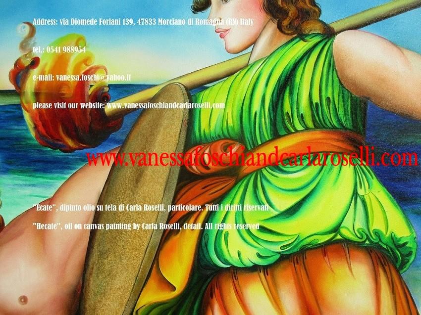 Hekate, dea dalle cento potestà, dipinto di Carla Roselli, pittrice nata a Mondaino, paese al confine tra le provincie di Rimini e di Pesaro-Urbino