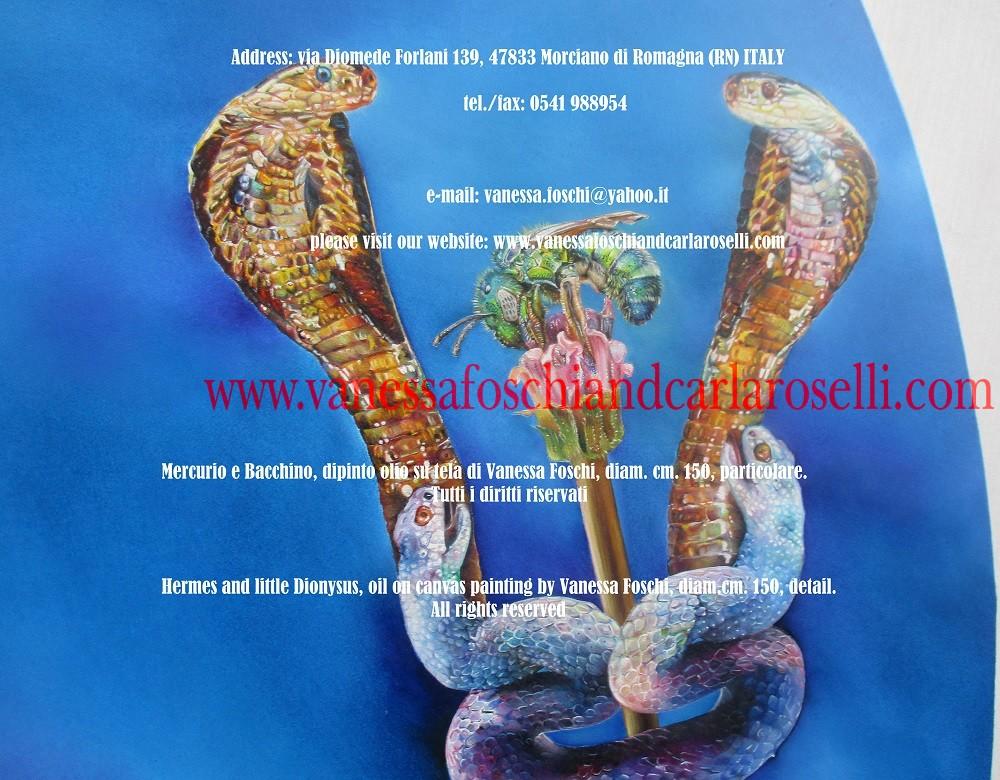 Mercurio e Bacchino, dipinto olio su tela di Vanessa Foschi, caduceo- Hermes and little Dionysus, oil on canvas painting by Vanessa Foschi, caduceus