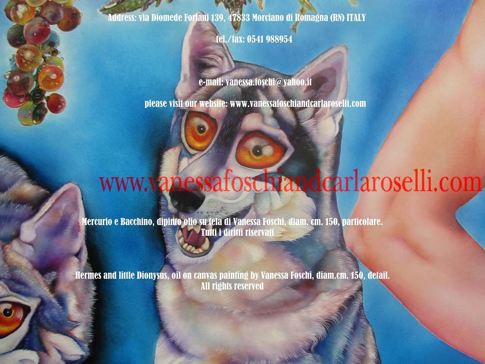 Mercurio e Bacchino, dipinto olio su tela di Vanessa Foschi, lupo - Hermes and little Dionysus, oil on canvas painting by Vanessa Foschi, wolf