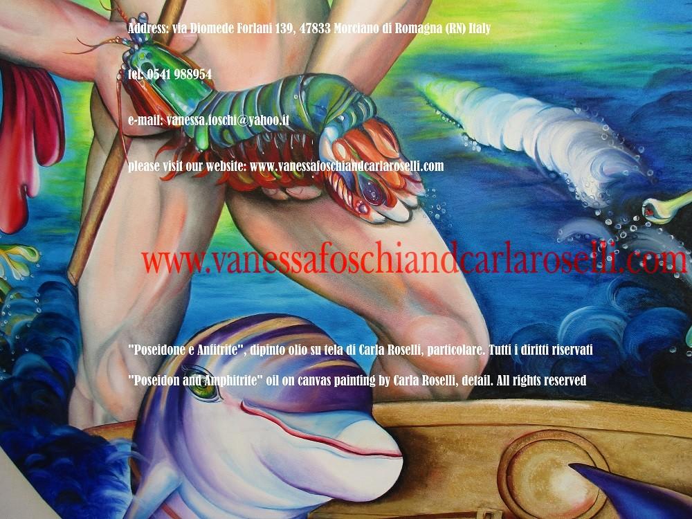 """In questo dipinto di Carla Roselli è dipinto Nettuno/Poseidone, fratello di Zeus e Ade e figlio di Crono. Governa la terza parte del mondo. Il suo corpo sono le salate distese del mare (Lucrezio II, 472 """"Neptuni corpus acerbum) ma esercita il proprio dominio anche su tutte le altre acque. Da Omero viene definito """" il dio che avvolge e sostiene la terra"""". Basta solo la sua presenza al loro fianco per infondere leggerezza e vigore agli esausti guerrieri (Omero, Iliade)."""