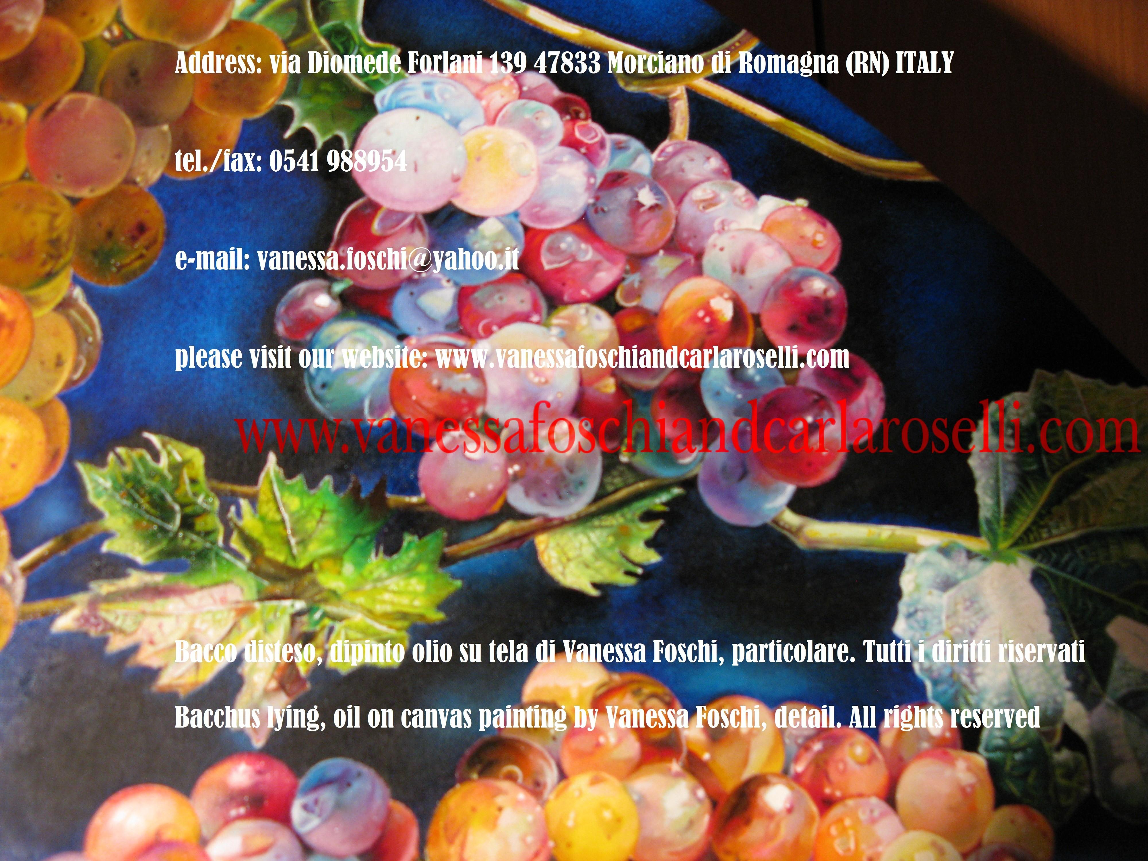 Grappoli d'uva, nel dipinto olio su tela Bacco disteso di Vanessa Foschi