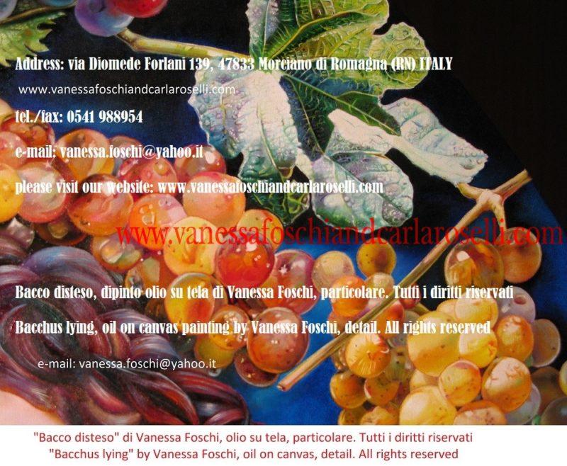 """Bacco-uva Moscatello, antico vitigno di Secondo Roselli, dipinta da Vanessa Foschi in """"Bacco disteso"""""""