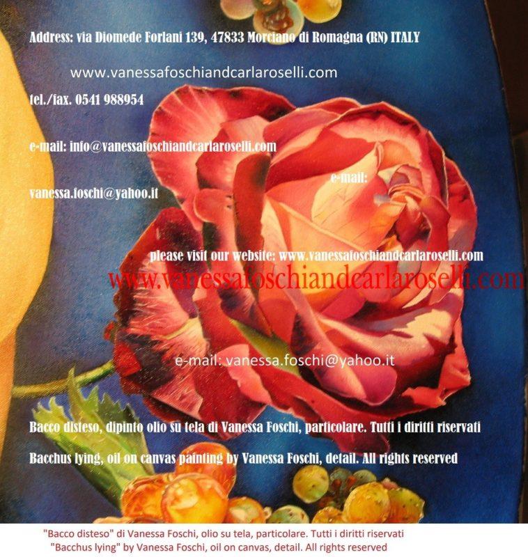 Bacco disteso-Διόνυσος-Βάκχος-dipinto olio su tela di Vanessa Foschi, rosa- Bacchus lying, painting by Vanessa Foschi-peinture à l'huile sur toile