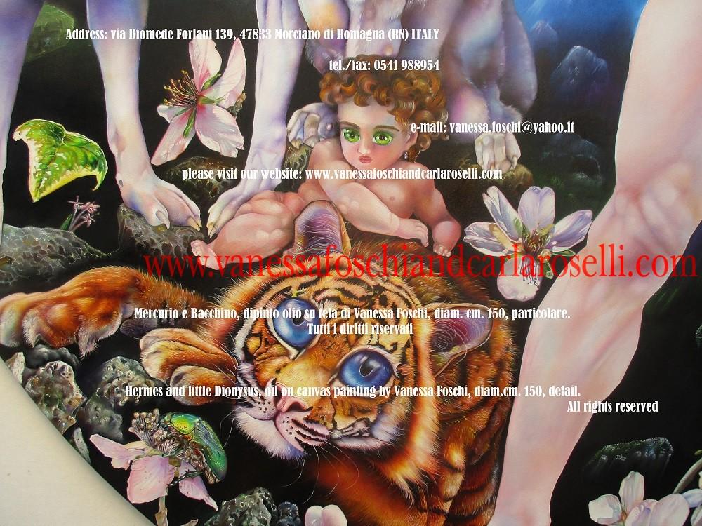 Mercurio e Bacchino, dipinto olio su tela di Vanessa Foschi, tigre- Ερμής και Διόνυσος -Hermes and little Dionysus, oil on canvas painting by Vanessa Foschi, tiger