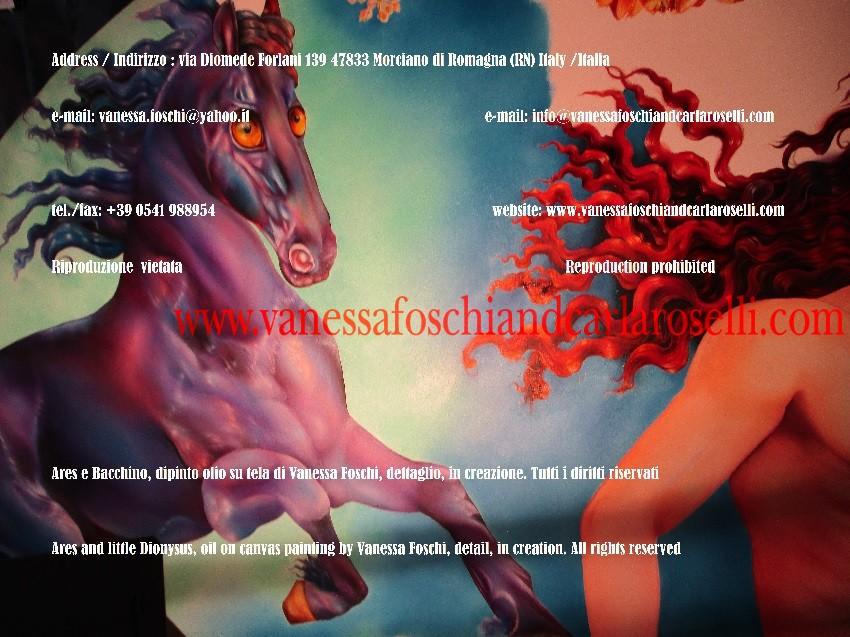 Ares, di Vanessa Foschi, pittore italiano, arte moderna e contemporanea- Ares's steed flowing mane, painting in creation, by Vanessa Foschi, italian artist, contemporary art