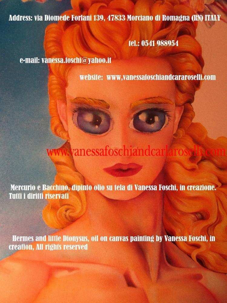 Greek gods, Mercurio e Bacchino, dipinto olio su tela di Vanessa Foschi, in creazione. Hermes and little Dionysus by Vanessa Foschi