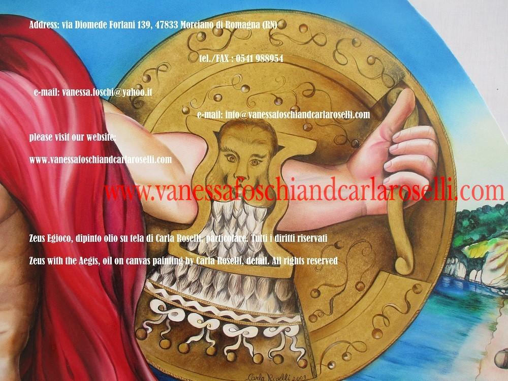 Aegis/Egida di Zeus padre/Iuppiter, dipinta da Carla Roselli