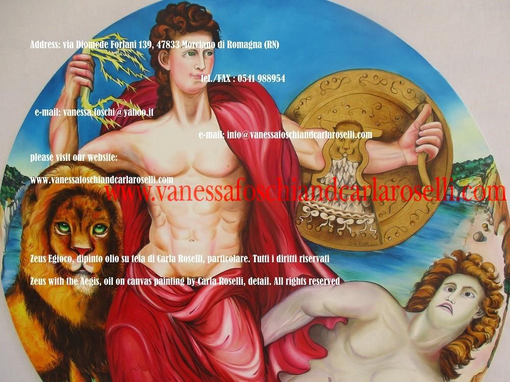 Iuppiter/ Zeus/ Giove, dipinto daCarla Roselli con l'egida tremenda