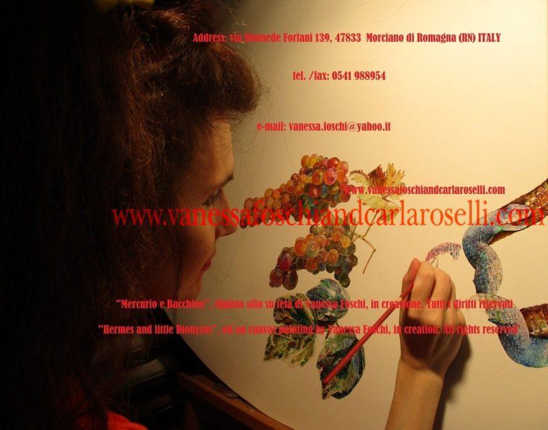 Mercurio e Bacchino, dipinto olio su tela di Vanessa Foschi, in creazione-Peinture à l'huile sur toile de Vanessa Foschi, en création-Hermes and little Dionysus, oil on canvas painting by Vanessa Foschi, in creation